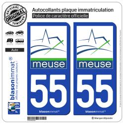 2 Autocollants plaque immatriculation Auto 55 Meuse - Département