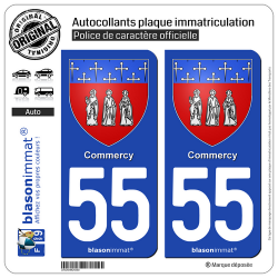 2 Autocollants plaque immatriculation Auto 55 Commercy - Armoiries