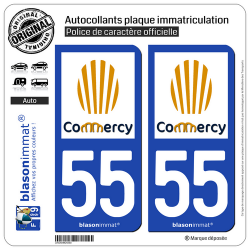 2 Autocollants plaque immatriculation Auto 55 Commercy - Ville