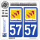 2 Autocollants plaque immatriculation Auto 57 Lorraine - LogoType