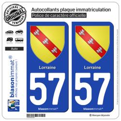2 Autocollants plaque immatriculation Auto 57 Lorraine - Armoiries