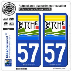 2 Autocollants plaque immatriculation Auto 57 Bitche - Commune