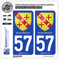 2 Autocollants plaque immatriculation Auto 57 Boulay-Moselle - Armoiries