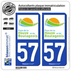 2 Autocollants plaque immatriculation Auto 57 Boulay-Moselle - Agglo