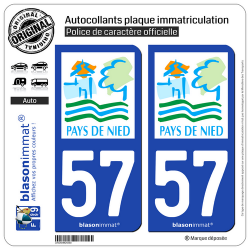 2 Autocollants plaque immatriculation Auto 57 Boulay-Moselle - Pays
