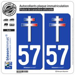 2 Autocollants plaque immatriculation Auto 57 Croix de Lorraine