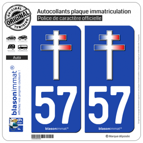 2 Stickers autocollant plaque immatriculation Auto Croix de Saint Normandie