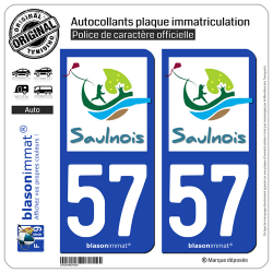 2 Autocollants plaque immatriculation Auto 57 Château-Salins - Agglo