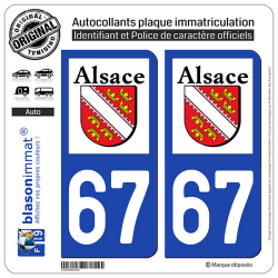 2 Autocollants plaque immatriculation Auto 67 Alsace - LogoType