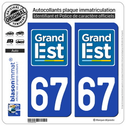 2 Autocollants plaque immatriculation Auto 67 Grand Est - LogoType