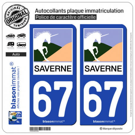 2 Autocollants plaque immatriculation Auto 67 Saverne - Ville