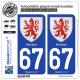 2 Autocollants plaque immatriculation Auto 67 Sélestat - Armoiries