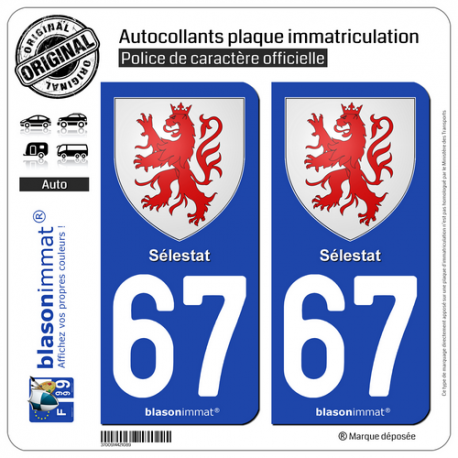 2 Autocollants plaque immatriculation Auto 67 Sélestat - Armoiries