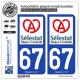 2 Autocollants plaque immatriculation Auto 67 Sélestat - Ville