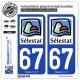 2 Autocollants plaque immatriculation Auto 67 Sélestat - Agglo