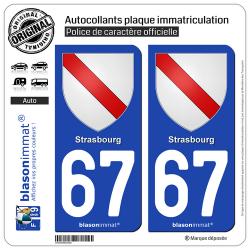 2 Autocollants plaque immatriculation Auto 67 Strasbourg - Armoiries
