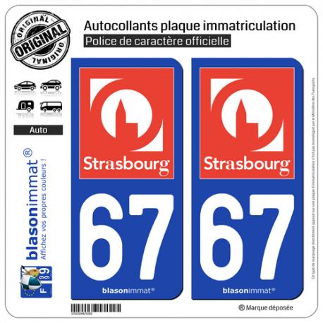 2 Autocollants plaque immatriculation Auto 67 Strasbourg - Tourisme