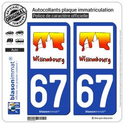 2 Autocollants plaque immatriculation Auto 67 Wissembourg - Tourisme