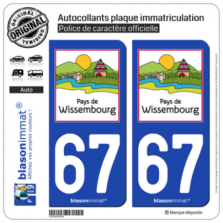 2 Autocollants plaque immatriculation Auto 67 Wissembourg - Pays