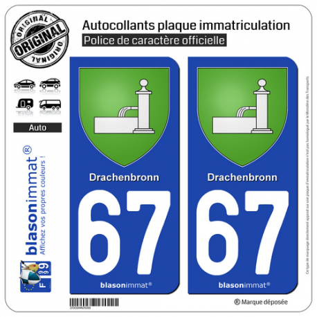 2 Autocollants plaque immatriculation Auto 67 Drachenbronn - Armoiries