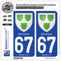 2 Autocollants plaque immatriculation Auto 67 Birlenbach - Armoiries