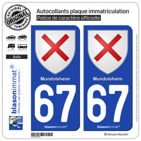 2 Autocollants plaque immatriculation Auto 67 Mundolsheim - Armoiries