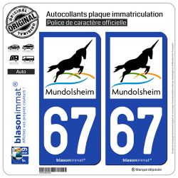 2 Autocollants plaque immatriculation Auto 67 Mundolsheim - Commune