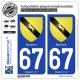 2 Autocollants plaque immatriculation Auto 67 Saverne - Armoiries