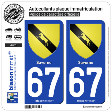 2 Autocollants plaque immatriculation Auto 67 Saverne - Armoiries