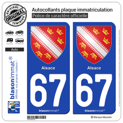 2 Autocollants plaque immatriculation Auto 67 Alsace - Armoiries