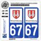 2 Autocollants plaque immatriculation Auto 67 Wissembourg - Ville