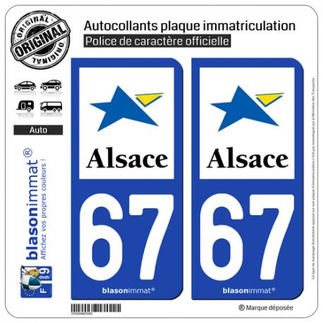 2 Autocollants plaque immatriculation Auto 67 Alsace - Région