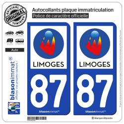 2 Autocollants plaque immatriculation Auto 87 Limoges - Ville