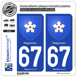 2 Autocollants plaque immatriculation Auto 67 Haguenau - Armoiries