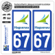 2 Autocollants plaque immatriculation Auto 67 Haguenau - Agglo