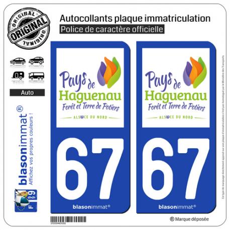 2 Autocollants plaque immatriculation Auto 67 Haguenau - Tourisme