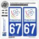 2 Autocollants plaque immatriculation Auto 67 Haguenau - Ville