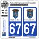 2 Autocollants plaque immatriculation Auto 67 Molsheim - Ville