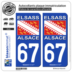 2 Autocollants plaque immatriculation Auto 67 Alsace - Drapeau