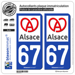 2 Autocollants plaque immatriculation Auto 67 Alsace - Région II