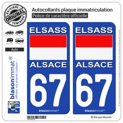 2 Autocollants plaque immatriculation Auto 67 Alsace - Drapeau Historique