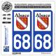 2 Autocollants plaque immatriculation Auto 68 Alsace - LogoType