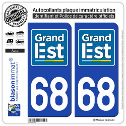 2 Autocollants plaque immatriculation Auto 68 Grand Est - LogoType
