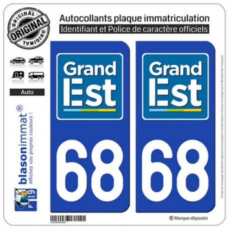 2 Autocollants plaque immatriculation Auto 68 Grand Est - LogoType