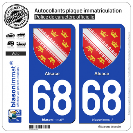 2 Autocollants plaque immatriculation Auto 68 Alsace - Armoiries