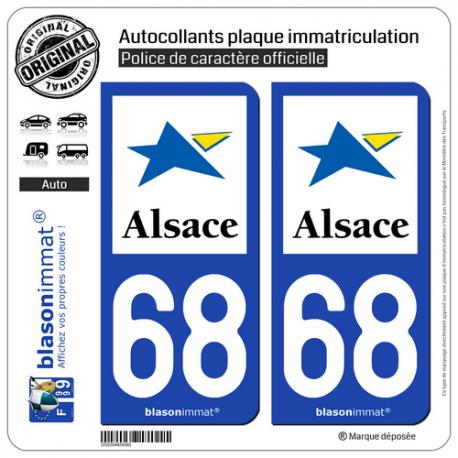 2 Autocollants plaque immatriculation Auto 68 Alsace - Région