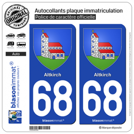 2 Autocollants plaque immatriculation Auto 68 Altkirch - Armoiries