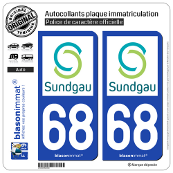 2 Autocollants plaque immatriculation Auto 68 Altkirch - Agglo