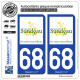 2 Autocollants plaque immatriculation Auto 68 Altkirch - Tourisme