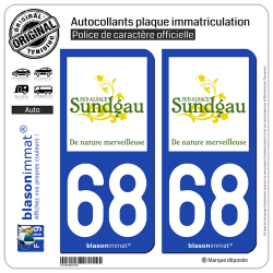 2 Autocollants plaque immatriculation Auto 68 Altkirch - Tourisme